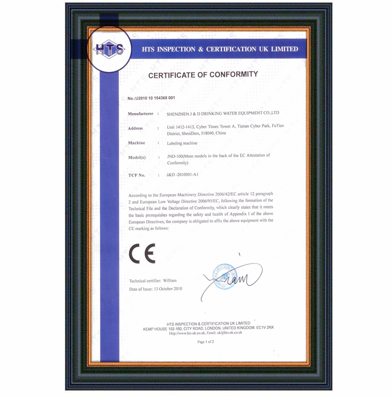 J&D WATER stainless steel semi automatic labeling machine standard for metal container-8