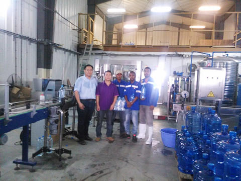 Shenzhen J&D Drinking Water install 120BPH Barrelled& 6000BPHbottled water line in Madagascar