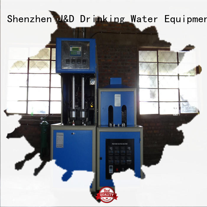J&D WATER semi-automatic stretch blow moulding machine with handles for hot fill containers