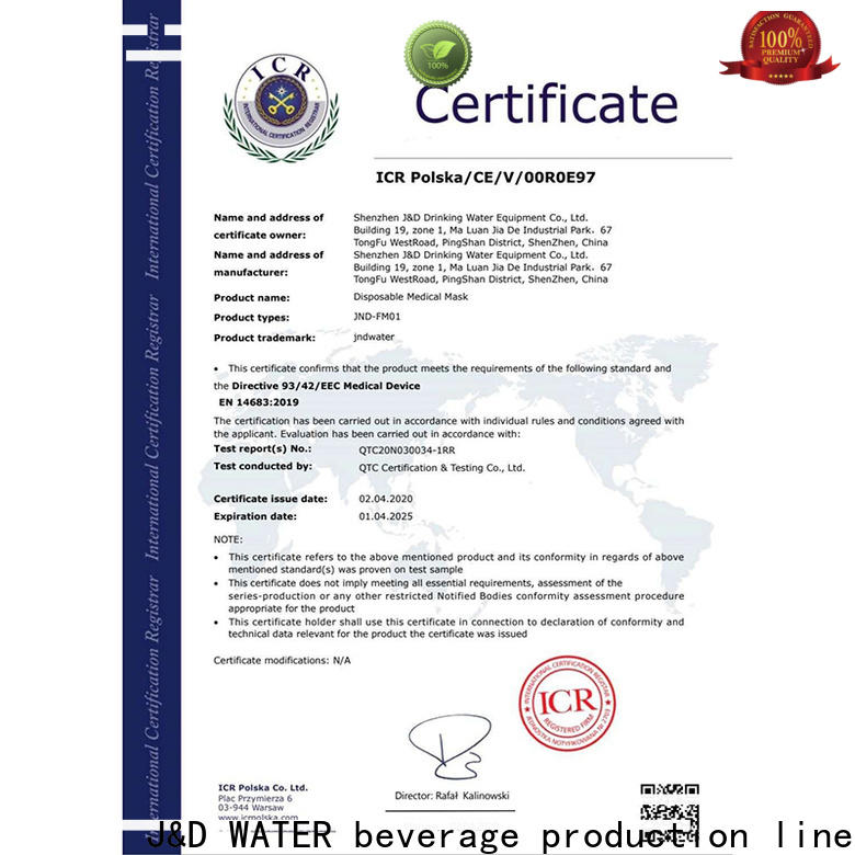 J&D WATER Certificate